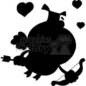 cartoon silhouette cupid pig flying with hearts