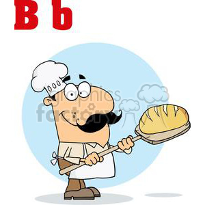 A Baker with a Loaf of Bread clipart. Commercial use image # 378486