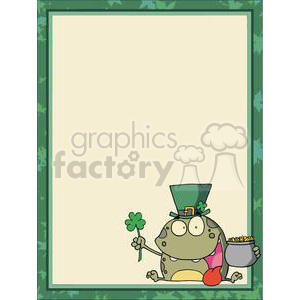 A Toad Dressed up for St. Patrick's Day in a Green Border clipart. Commercial use image # 378491
