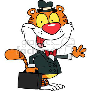 A Business Tiger Waving Goodbye clipart. Commercial use image # 378496