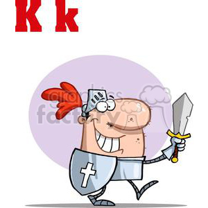 Knight in a suite of armor with sword and sheild that has a white cross on it clipart. Royalty-free image # 378521