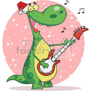 Dinosaur Plays Guitar and Singing with Santa Hat with a Pink Sphere with Snow Falling in Background