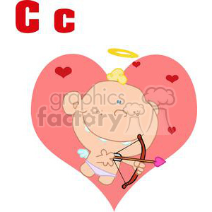 Cupid with a bow and arrow in front of a big pink heart clipart. Royalty-free image # 378531