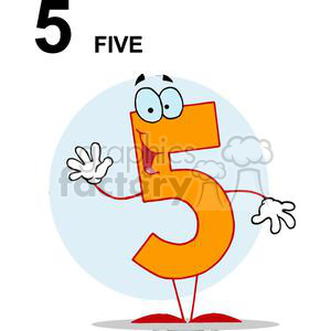 Funny Number 5 with Five Spelled Out clipart. Royalty-free image # 378541