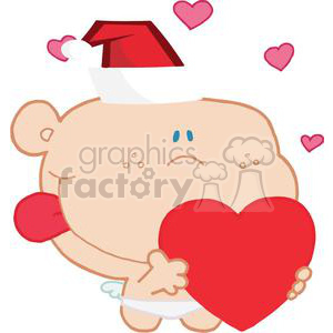 A Little Romantic Cupid with Heart and Santa Clause Hat clipart. Commercial use image # 378546