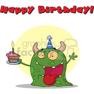 A Happy Green Monster Celebrates First Brithday clipart. Commercial use image # 378551