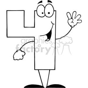 Cartoon number four 4 smiling clipart. Commercial use image # 378561