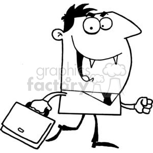 Vampire With Briefcase In Black and White clipart. Commercial use image # 378576