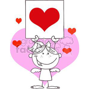 stick cupid girl with banner and hearts