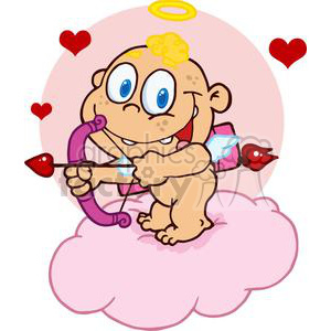 Cute Cupid with Bow and Arrow Flying With Hearts clipart. Royalty-free image # 378596