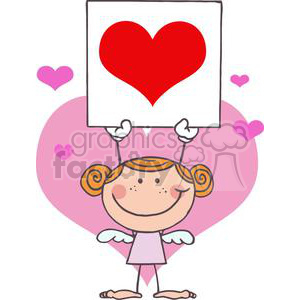 stick cupid girl holding up a big heart banner
