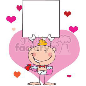 Stick Baby Cupid Wearing a Red Bow Tie with Banner clipart. Commercial use image # 378606