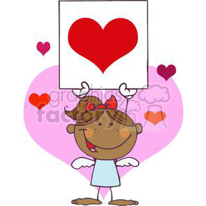 African American Cupid Girl In A Blue Dress with Banner clipart. Commercial use image # 378611