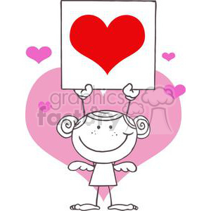 cartoon stick cupid girl with banner of a big red heart