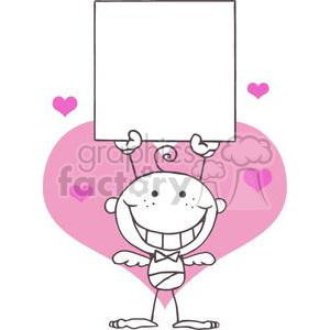 Cartoon Stick Cupid with Blank Banner In Front of A Light Pink Heart clipart. Royalty-free image # 378626