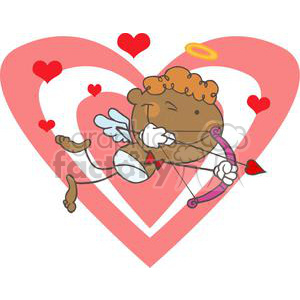 African American Cupid with Bow and Arrow Flying With Double Heart clipart. Commercial use image # 378631