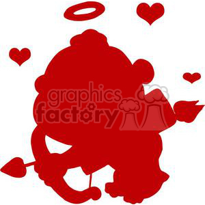 Cute Cupid with Bow and Arrow Flying With Hearts Red Silhouette clipart. Royalty-free image # 378636