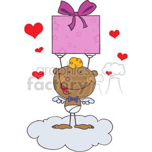 Stick African American Cupid with Gift On A Baby Blue Cloud