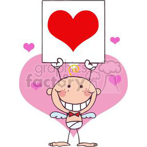 A Blond Baby Boy Stick Cupid with Banner clipart. Commercial use image # 378651
