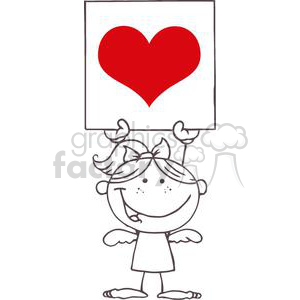 cartoon stick cupid girl with large heart banner