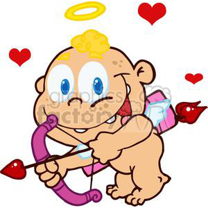 Baby Cupid with Bow and Arrow Flying With Hearts clipart. Royalty-free image # 378661