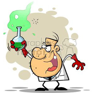 Mad Scientist Holds Bubbling Beaker Of Chemicals clipart. Royalty-free image # 378873