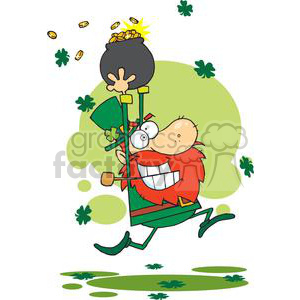 Whacky Lucky Leprechaun running with a pot of gold clipart. Commercial use image # 378878