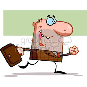 Lucky Business man in brown Suite Walks With Briefcase clipart. Royalty-free image # 378883