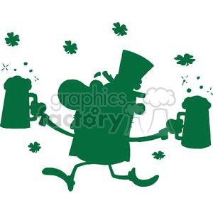 Happy Leprechaun With Two Pints of Beer Green Silhouette clipart. Royalty-free image # 378893
