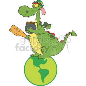 Leprechaun Dragon with a pot of gold and mace sitting on a globe clipart. Royalty-free image # 378903