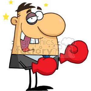 Business man with Black Eye Wearing Red Boxing Gloves clipart. Royalty-free image # 378908