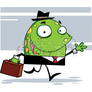 Golly Green Monster With A Suitcase Goes To Work clipart. Commercial use image # 378918