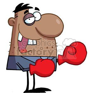 African American Businessman with One Black Eye Wears Boxing Gloves clipart. Commercial use image # 378923