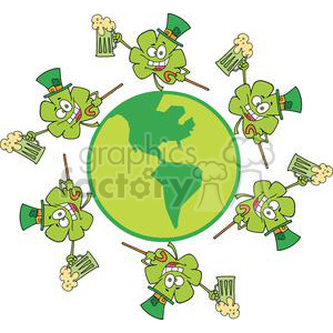 Happy Shamrocks With Hats Makes A Toast with Green Beer on The Globe clipart. Royalty-free image # 378928