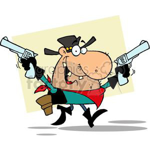 A Cartoon Outlaw Cowboy with two Guns Grinning clipart. Commercial use image # 378938