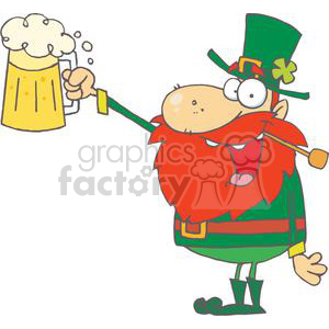 Lucky Leprechaun With A Pipe In Mouth Toast with A Mug Of Ale clipart. Royalty-free image # 378948