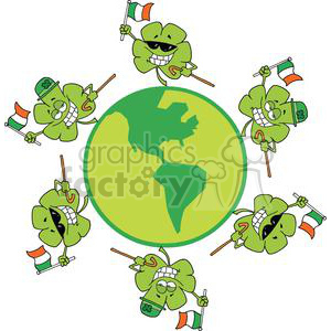 Happy Shamrocks With Ireland Flags Dancing Around The Globe clipart. Royalty-free image # 378953