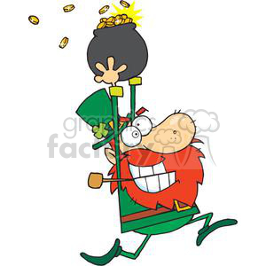 Crazy Leprechaun running with a pot of gold clipart. Royalty-free image # 378958