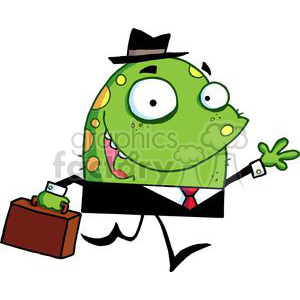 Green and Yellow Spotted Monster With A Suitcase Goes To Work clipart. Royalty-free image # 378963