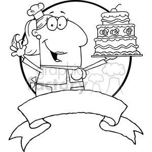 Banner of a woman baker holding a cake clipart. Commercial use image # 378968