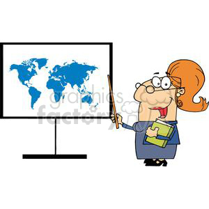 Teacher With A Pointer Showing A World Map