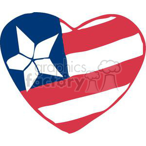 Heart Shaped American Flag clipart. Commercial use image # 378988