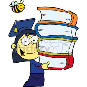 Female Asian Graduate With Books In Her Hands clipart. Commercial use image # 378993