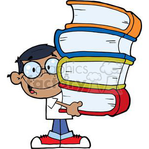 African American Boy With Books In His Hands clipart. Commercial use image # 379003