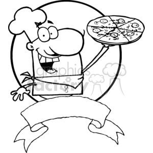 Banner Of A Proud Chef Holds Up Pepperoni Pizza clipart. Commercial use image # 379023
