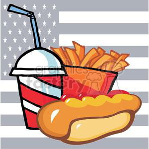 fast food hot dog drink and french fries with american flag background