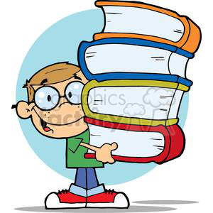 Boy carrying books clipart. Commercial use image # 379038