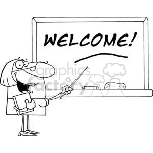 Women School Teacher With A Pointer Displayed On Chalk Board Text Welcome!