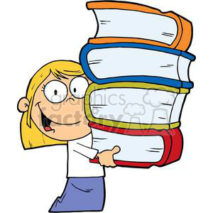A Blond Girl With Books In Her Hands