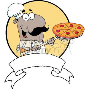 A Proud African American Chef Inserting A Pepperoni Pizza Banner clipart. Commercial use image # 379053